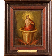 """Superb early 17thC painting, oil on copper. """" St John in the oil"""". Very rare and unique Flemish painting. S Vrancx ( 1573-1647)"""