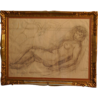 "Great "" Female Nude Study"" drawing by Emmanuel Mané-Katz ( 1894-1962), signed. Strong provenance."