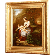 Superb 18thC romantic German Austrian painting by G M Fuchs, mother with child in landscape. Museum quality painting.