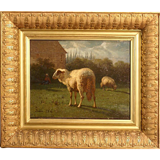 Superb 1864 Master painting by Louis Robbe ( 1806-1887). Signed and dated. Sheep in landscape. Museum quality, highly listed Master.
