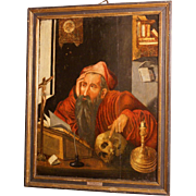 "16th C oil on oak panel, museum quality painting, Flemish, studio J van Cleve, ""Saint Jerome in his study"""