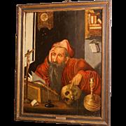 "16th C oil on oak panel, museum quality painting, Flemish, studio J van Cleve, ""Saint Jerome in his study"""