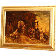 Great 19thC impressionist French Painting, Monticelli, landscape with ladies, on panel.