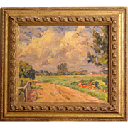 Superb impressionist European Master painting by Danish Master Erik Jensen ( 1883-1974). Great impressionistic landscape oil painting.