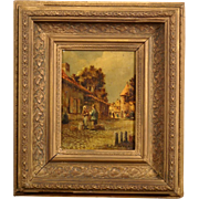 Great 19th C Dutch cityscape painting, by C Springer, highly listed