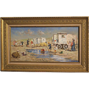 "Superb impressionist 1920' Dutch painting by C Koppenol, "" on the beach"""