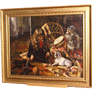 Superb French 1904 impressionist painting by L Cabanes ( 1867-1947). Child playing with toys and two cats. Top museum quality.