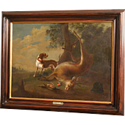 Great 17C painting, hunting scene in landscape with hunting dog and deer, Flemish School, F Snyders