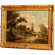 Superb 19thC French landscape painting, by highly listed C De Haes. ( 1826-1898)