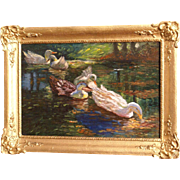 Superb 1900 impressionist painting by Dutch Master F Helfferich ( 1871-1941). Impressionistic painting of Ducks.
