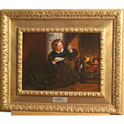 "Superb 1840 English painting by Frank Stone ( 1800-1859), "" Catherine Dickens teaching the cat"". ( wife of Charles Dickens). Historical painting and very charming !!  1 WEEK REDUCED!"