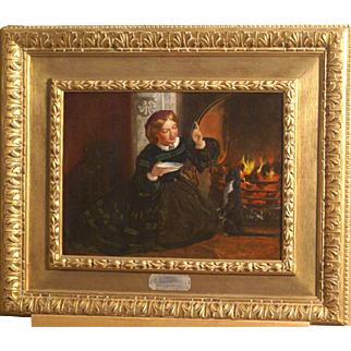 """Superb 1840 English painting by Frank Stone ( 1800-1859), """" Catherine Dickens teaching the cat"""". ( wife of Charles Dickens). Historical painting and very charming !!  1 WEEK REDUCED!"""