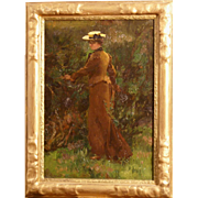 "Superb 1880 French impressionist painting,"" Lady in a garden"", illegibly monogrammed, super quality. Very early impressionistic French painting."