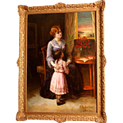 """Superb 1905 romantic painting by Edouard F W Richter ( 1844-1913). Signed and dated 1905 Paris. """" Is daddy coming home?"""". Highly listed Master."""