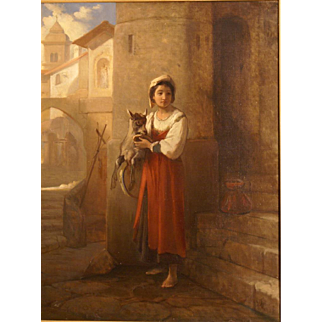 Superb 1820 German romantic painting, girl with goat in cityscape, by J Dorn ( 1759-1841), highly listed German Master. 1 WEEK REDUCED