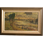 Superb expressionist Dutch landscape painting by Jopie Roosenburg Goudriaan ( 1913-1996); Highly listed Master.