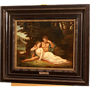 "Great French end 18thC romantic painting, J F Lagrenee ( 1724-1805), "" Beauty with faun in a landscape"""