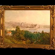 Superb 19thC Italian impressionistic landscape by Francesco Filippini ( 1853-1895). A Mediterranean seascape.