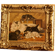 Superb cat painting by H Ronner. Very charming oil painting: cat with her kittens in an interior.