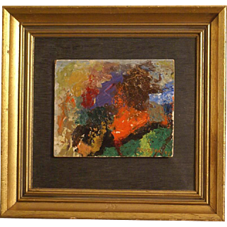 Great abstract painting by Italian master M Moreni ( 1920-1999). Signed and dated 1957.