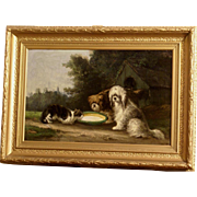 Superb 1878 painting, landscape with dogs and cat, by E Moerenhout ( 1801-1893). Highly listed. Museum quality.