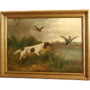 Great 1900 oil painting by Paul Schouten ( 1860-1922), hunting dog in a landscape.
