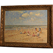 Superb impressionistic painting, a beach scene by Dutch Master AC Van Noort ( 1914-2003). Highly listed and strongly rising in value.