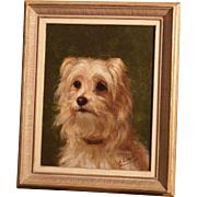 Superb 19thC French dog portrait painting of a terrier by A Leotard. Top Museum quality. High value!