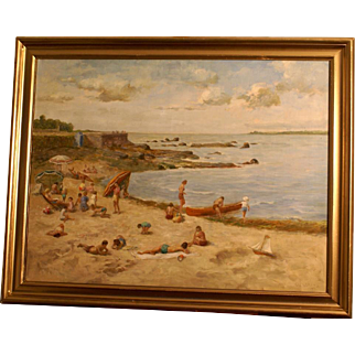 Superb impressionistic beach scene, by highly listed European Master, by O Mulkens, dated 1949. 1 WEEK REDUCED!