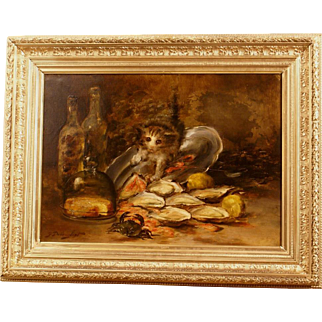 Superb 19thC cat painting by French master G Dubouchet ( 1867-19..), highly listed, museum quality. 1 WEEK REDUCED!
