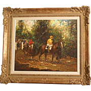 "Superb impressionistic painting "" at the horse races"" By M De Meyer ( 1910-1999). Highly listed Belgian Master. Internationally famous. Top museum quality."