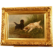 Superb museum qualtiy 19thC hunting dog painting by Henry Schouten ( 1864-1927). Two setters on the hunt. Top quality!