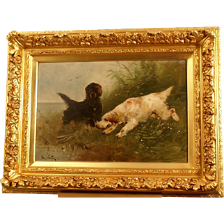 Superb museum quality 19thC hunting dog painting by Henry Schouten ( 1864-1927). Two setters on the hunt. Top quality!