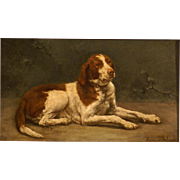 """Superb 1880 portrait painting of a hunting dog ( """"a pointer posing"""") by L Delahaye. Top Museum quality!"""