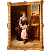 """Superb 1905 romantic painting by Edouard F W Richter ( 1844-1913). Signed and dated 1905 Paris. """" daddy is coming come"""". Highly listed Master"""