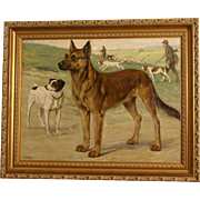 1920 Dog portrait painting, dogs posing in landscape with hunting scene dogs in the background. By highly listed European master. Museum quality.