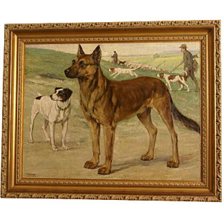 1920 Dog portrait painting, dogs posing in landscape with hunting scene dogs in the background. By highly listed European master. Museum quality. REDUCED!