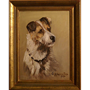 Superb 1939 dog portrait painting, a terrier posing, by highly listed French master, signed and dated.