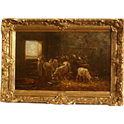 Superb museum quality French 1870 painting by the Barbizon painter Charles E Jacque (1813-1894). Sheep and rooster in a barn.