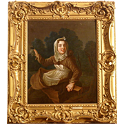 Superb early 18thC French portrait painting, girl with her pet ermine in a landscape. Top museum quality. By P Gobert ( 1662-1744)