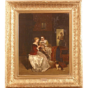 "Superb 1870 painting "" elegant interior scene with dog"" by highly listed Dutch Master Frans Moormans ( 1832-1884)."