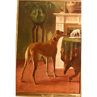Magnificent 19thC dog portrait painting by highly listed Master Alice Leotard. Signed, titled and dedicated. Big format. Top museum quality!