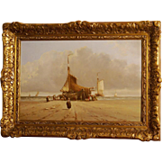 Superb beach scene with boats, by highly listed Dutch master Hendrik Vader. Top marine painting. Museum quality.