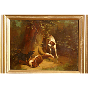 Great 1880 oil painting, hunting scene with two dogs, by the highly listed Master Ferdinand De Prins ( 1859-1908).