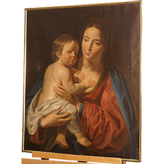 Great 1800 painting Madonna with Holy Child, French Master, from around 1800