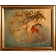 Superb 17th-18thC French Master painting on panel, angels in heaven with flower basket, very rare masterpiece! REDUCED FOR ONE WEEK!