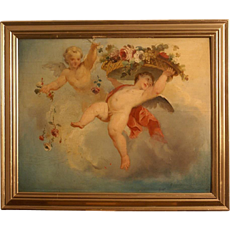Superb 17th-18thC French Master painting on panel, angels in heaven with flower basket, very rare masterpiece! Museum quality!