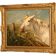 Superb museum quality 1900 horse portrait painting by the highly listed master Henry Schouten ( 1857-1927). Portrait of a Lipizzaner horse. 1 WEEK REDUCED!!