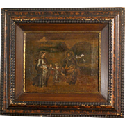 "Great 16th century Italian Master painting, charming very old painting. "" The Holy Family in a landscape"""