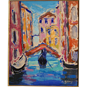 "Superb impressionistic fauvism French painting, ""Venice"", by Antoine Giroux ( 1955-.). Highly listed."